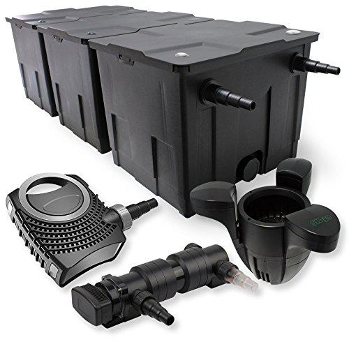 SunSun 3-Kammer Filter Set 90000l 24W UVC 6er Teich Klärer NEO8000 70W Pumpe Skimmer