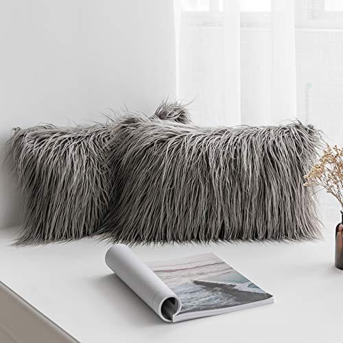 MIULEE Juego de 2 Funda de Almohada Cojines de Piel Decorativos Cuadrados y Suaves Cojines PeloPara la Decoración del Hogar Sofá Cama del12x20 Inch 30 x 50 cm Gris