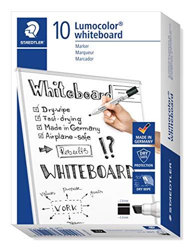 Staedtler Lumocolor 351 B-9 Whiteboard-Marker (Keilspitze ca. 2 oder 5 mm Linienbreite, hohe Qualität, trocken und rückstandsfrei abwischbar von Whiteboards, Kartonetui mit 10 Stück) schwarz