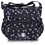 AIBILIEI multi-tasca Moda Borsa Messenger Bag, Squisito Donna Viaggio, Escursioni, Shopping uso Quotidiano(6-navy nero (fiore))
