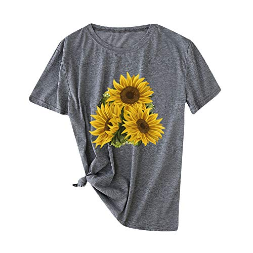 Camisetas de manga corta para mujer, diseño de girasoles