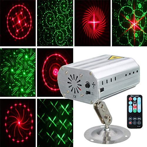 JIGUOOR Stage Light Music Laser Lights Portable mini laser show light LED RGB Party Lights Projector strobe light with Remote Control for Festival,decor DJ Lighting Disco,Night Clubs,KTV, Bar,Val