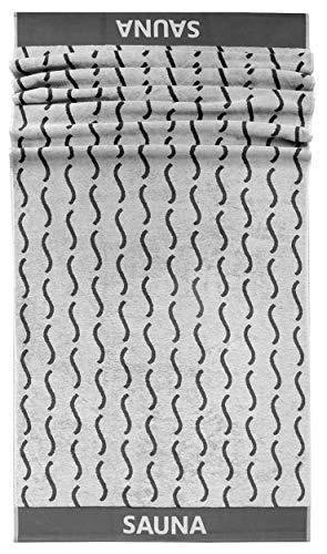 Lashuma Saunahandtuch Göteburg, XXL Badetuch 85x200 cm, Frotteetuch mit Wellen Design, Wellness Handtuch Grau - Beton