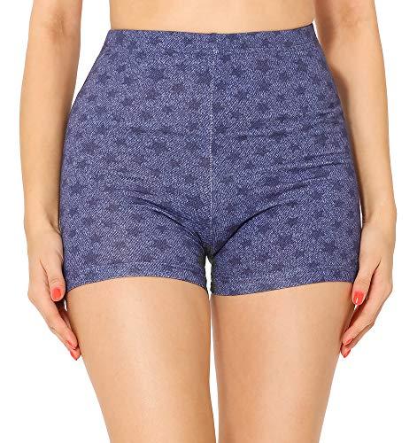 Merry Style Leggins Cortos Malla Deportiva Short Mujer MS10-407(Azul/Jeans Estrellas,XS)