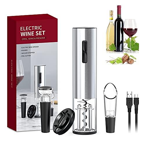 Set apribottiglie elettrico Set regalo apribottiglie automatico con taglia foglio di alluminio, tappo sottovuoto e set versatore vino, adatto per cucina, bar, ristorante
