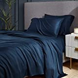 Bedsure 100% Bamboo Sheets Set Queen Navy - Cooling Bamboo Bed Sheets for Queen Size Bed with Deep Pocket 4PCScs