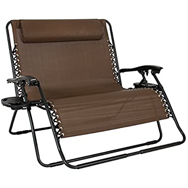 Best Choice Products 2-Person Double Wide Folding Zero Gravity Chair Patio Lounger w/Cup Holders - Brown