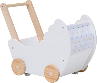 Children 2-in-1 White Wooden Doll Strollers Walker, Fabric Cover Doll Pram/Buggy Walker with Wheel, Toddler Baby Push Pull Toy Activity Walker for Girls Boys 1-3 Years Old, Pretend Play Wagons Walker