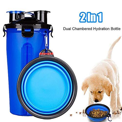 Bottiglia Acqua Per Cani, Bottiglia Viaggio Portatile Per Animali Domestici con Ciotola Pieghevole Perfetto per Passeggiare, Viaggio, Turismo A Piedi, Campeggio
