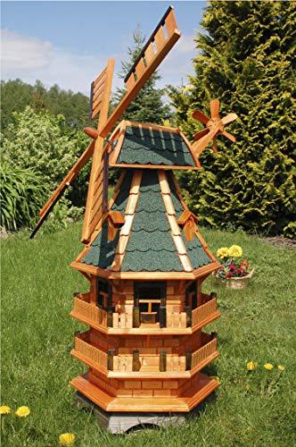 Deko-Shop-Hannusch Windmühle 3 stöckig kugelgelagert 1,40m Bitum grün mit Beleuchtung Solar, Solarbeleuchtung, mit extra Windrad hinten am Kopf, imprägniert, Kugellager einstellbar