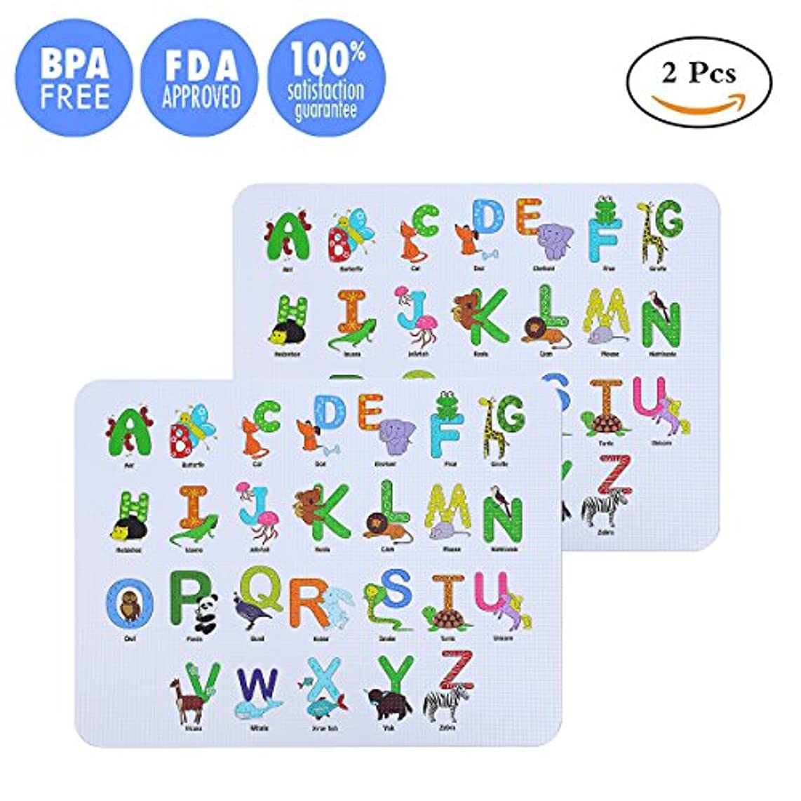 Medical Grade Silicone Babies Alphabet Educational Placemats Table Mats Reusable Collapsible Table Mats for Dining Table No-slip Washable Portable Foldable Placemats (set of 2)