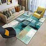Zuoyun Alfombra Diseño Extra Grandes Moderno Pelo Corto Funky Area Carpet Verde Amarillo Negro y Claro Yoga Mat Antiestáticas Lavables Sala de Estar Cocinas de Dormitorio Rugs-120X160