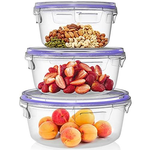 Home Fleek - Envases de Vidrio Circular para Alimentos | Herméticos | Sin BPA (Azul, Set 3)