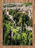ABAKUHAUS Europeo Alfombra de Área, Famosos Jardines del Vaticano, Ideal para Sala de Estar o Comedor Resistente a Manchas, 160 x 230 cm, Blanco Verde Bronceado