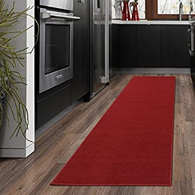 Ottomanson Ottohome Collection Solid Design Hallway Wedding Aisle Runner Rug Non-Skid (Non-Slip) Rubber Backing Area Rug, 20  X 59 , Red