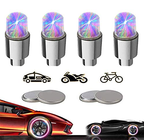 KYECOCO 4 Stück LED Ventilkappen Fahrrad Reifen Beleuchtung Speichenlicht Fahrrad Ventilschaftkappe Licht Autozubehör für Fahrrad Auto Motorrad oder LKW mit 10 Zusätzlichen Batterien(Bunt)
