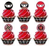 Ninja Karate Cupcake Kit - 24 Ninja Cupcake Toppers and 24 Cupcake Wrappers - Ninja Party Supplies - Karate Party Decorations - Cupcake
