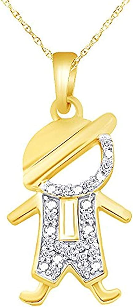 JewelsYard Created Round Cut White Diamond 925 Sterling Silver Cute Little Guy Pendant Necklace for Him /& Her