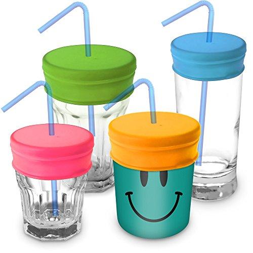 igadgitz Home U6543 Couvercles pour Paille Réutilisables Voyage 100% Silicone sans BPA pour la plupart des verres et tasses tasses - Paquet de 4