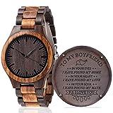 Fodiyaer Custom Engraved Wood Watch Gifts for Boyfriend Husband Men Fiancé Him As Personalized Anniversary Christmas Birthday Father Day Graduation Valentine's Wooden Idea