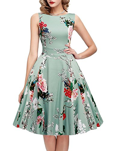 IHOT Women's Vintage Floral Dresses Elegant Casual Party Cocktail Wedding Night, Light Green Floral, 4X