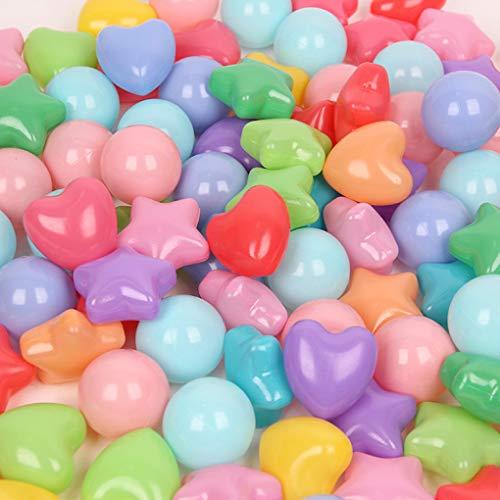 Mazhashop海洋ボールのおもちゃ星形愛の形50個入り直径6.5cmやわらかポリエチレン製収納ネットセット(子どもの脳力開発/装飾/プール/ボールハウス用)(50個,混合形)