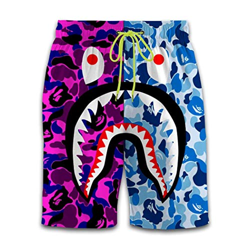 Bape Shark Purple Blue Camouflage Men's Swim Trunks Quick Dry Boardshorts Novelty Beach Sport Pants