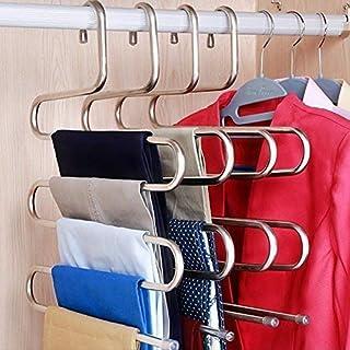 Ouken S-Tipo Acero Inoxidable Ropa Pantalones Perchas de Armario Organizador del almacenaje para Colgar Pantalones Jeans Bufanda (14,17 x 14.96ins, Juego de 3) (3 Piezas)
