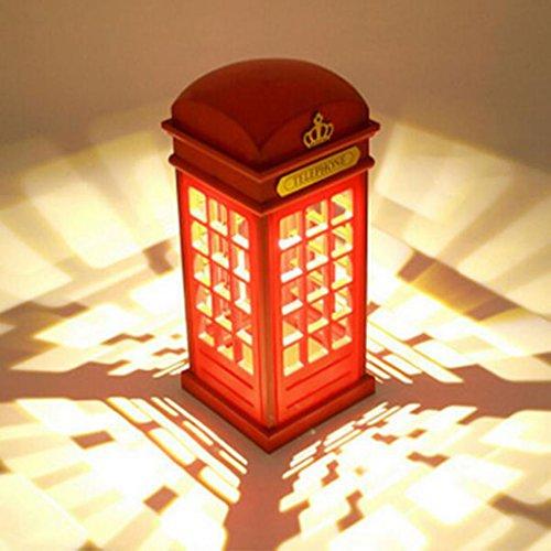 Amuzocity Lámpara De De Cabina Telefónica Roja De Londres con Lámpara De Mesilla De Noche