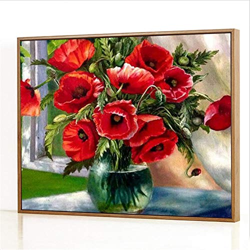 Diy Digitale Olieverfschilderij,Vensterbank vaas Schilderen Door Cijfers,Linnen Canvas ,Foto Voor Binnendecoratie - 40x50cm(Fotolijst)