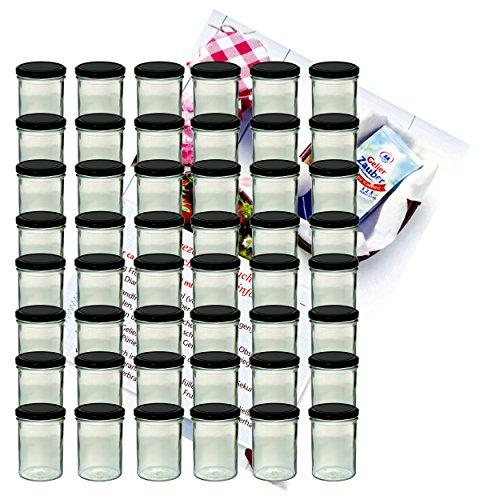 MamboCat 48er Set Sturzglas 435 ml Marmeladenglas Einmachglas Einweckglas to 82 schwarzer Deckel incl. Diamant-Zucker Gelierzauber Rezeptheft