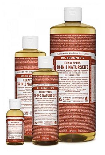 Dr. Bronner´s Naturseife Eukalyptus 18-in-1 Magic Soap natürliche Flüssigseife aus biologischem Anbau, vegan, keine Zusatzstoffe, Fair Trade zertifizierte Bioseife (1x945ml)