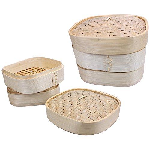JADE 17125 Bambus Reiskocher Dampfgarer 20x20cm, klassisch asiatisch Reis kochen, Schongarer für 4 Personen, Bambusdämpfer 3 tlg, Reiskocher 2,2 L Fassung, ideal als Risottokocher Gemüsegarer