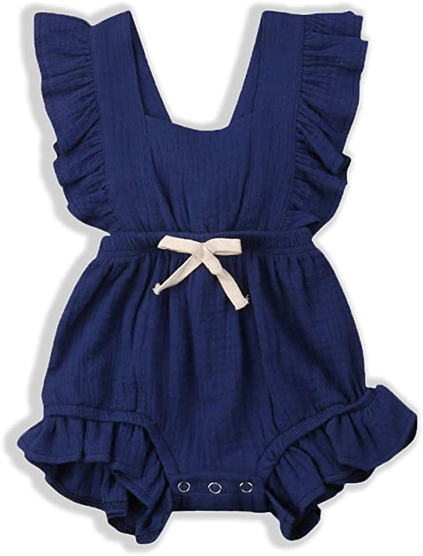 Olivia Baby Newborn Girl Clothes Baby Onesies Romper Ruffle Sleeveless One Piece Infant Jumpsuit With Bows