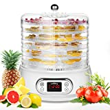 6 Trays Electric Food Dehydrator Machine, 400W Space-Saving Round Fruit Dryer Dehydrators for Beef Jerky, Vegetable, Herbs, Dog Treats, Christmas Snacks
