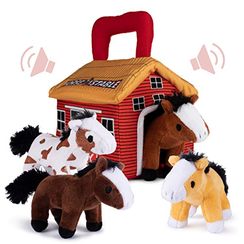 Plush Creations Plush Horse Toys for Kids. Playset Includes Stable Carrier with 4 Cuddly Interactive Talking and Neighing Plush Toy Horses. Best Gift for Girls Or Boys Toddlers and Babies.