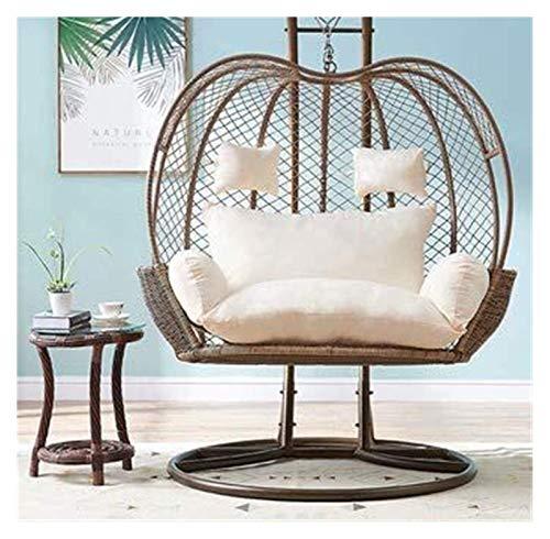 Cojines para exterior para sillas de patio Cojín para silla de columpio para dos personas, cojín para silla de nido de huevo para interiores y exteriores, cojín de mimbre para asiento mecedor de rat