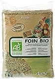 AIME Foin Bio, Certifie AB Agriculture Biologique, Naturellement Riche en Fibres, Sac de 1 Kg pour Petits Animaux