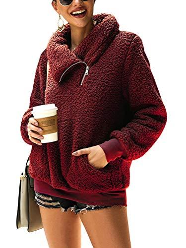 Minetom Damen Teddy-Fleece Sweatshirts Herbst Winter Mode Flauschig Oberteil Langarmshirt Tops Rollkragen Mit Taschen Pullover Rot 34