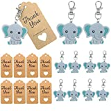 20 Pack Baby Shower Return Gifts for Guests, Blue Baby Elephant Keychains + Thank You Kraft Tags for Elephant Theme Party Favors, Baby Shower Favors for Boy, Birthday Party Supplies