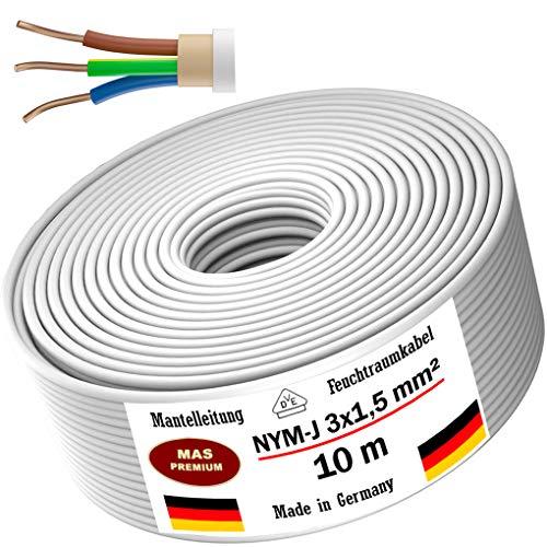 Feuchtraumkabel Stromkabel 5m, 10m, 20m, 50m oder 100m Mantelleitung NYM-J 3x1,5mm² Elektrokabel Ring für feste Verlegung (10 m)