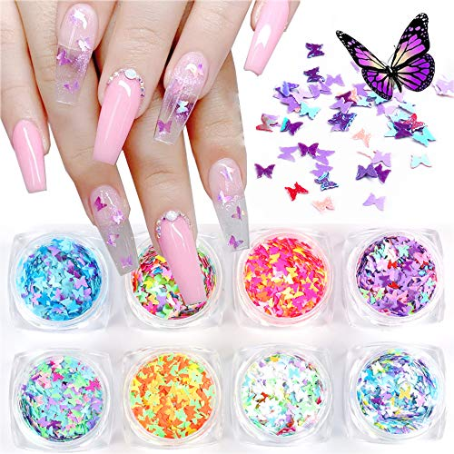 EBANKU 3D Butterfly Nail Art Glitter Sequins, 8 Boxes Splarkly Laser Coloful Butterfly Nail Sequin Acrylic Paillettes, Holographic Nail Sparkle Glitter for Women Nail Art Decoration