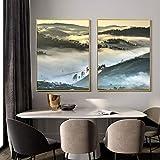 アートポスターノルディックポスター風景キャンバスペインティングフォグヒルズウッドフォレストプリントモダンウォールアートウォールピクチャー用リビングルーム家の装飾-50x70cmx2個フレームレス