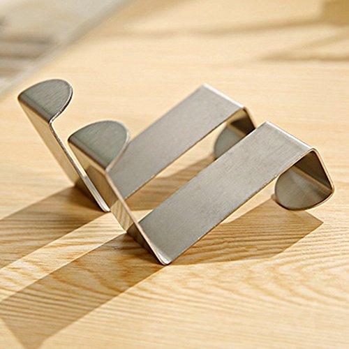 Qliver Over Cupboard and Drawer Hooks,Over Door Metal Hooks Hanger Stainless Steel Reversible Hooks - Set of 4