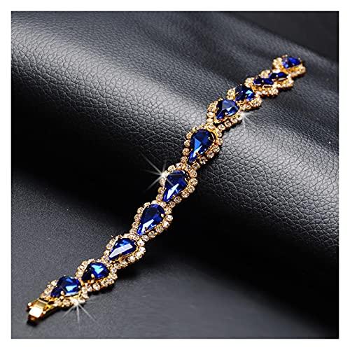 Pulseras para mujer Pulsera de la pulsera de la piedra de cristal azul de la hembra del encanto de la rosa de la cadena de color de la rosa para las mujeres Pulsera de la boda de la geometría linda de
