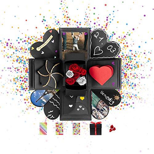 DYNOVIBE ® Kreative Geschenkbox – Überraschung Box, Explosionsbox, DIY Geschenk – besondere Geschenkidee zum Selbstgestalten für Geburtstag,Hochzeit,Weihnachten,Valentine,Jahrestag (Schwarz)