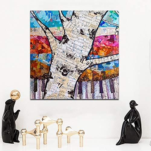 YuanMinglu Rahmenlose Malerei Musik Leinwand Baum Wohnzimmer Moderne abstrakte Moderne abstrakte Kunst Dekoration auf Leinwand 50x50cm