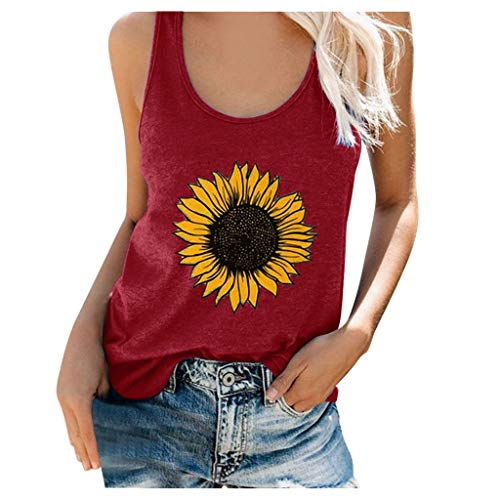 Amazing Deal ZBYY Tank Tops for Women Loose Fit Sunflower Print Crew Neck Funny Graphic T-Shirts Sleeveless Flowy Tunic Blouse Wine
