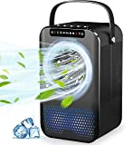 Portable Air Conditioner Fan, Air Cooler, Mini Evaporative Cooler with 600ml Water Tank, LED Display, 3 Speeds 2 Mist, Super Quiet Air Conditioning Fan Misting, Small Desktop Cooling Fan for Office