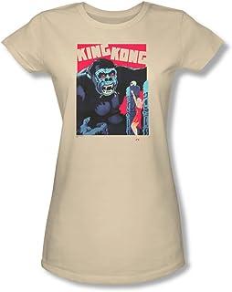 King Kong–para Mujer Brillante Póster Camiseta en Color Crema